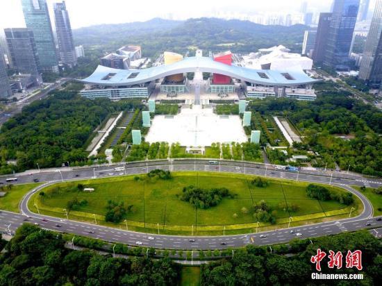 图为航拍深圳市民中心广场。(资料图片) 中新社记者陈文摄
