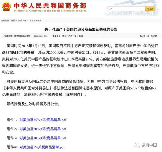 中国确定关税还击 商务部一晚三回应 (组图)