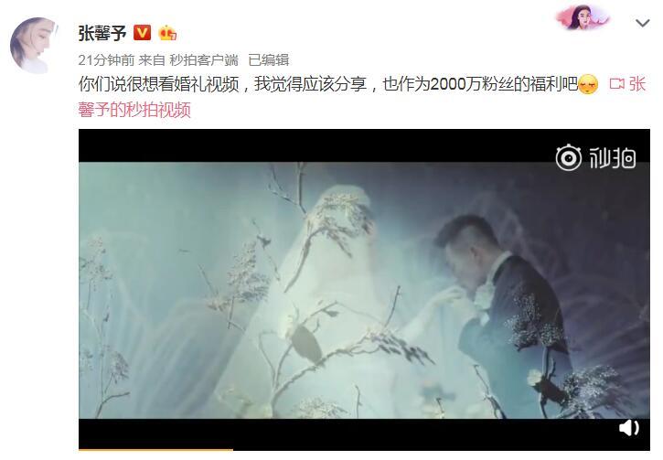 张馨予婚礼视频曝光 何捷深情告白:你就是我要的女人