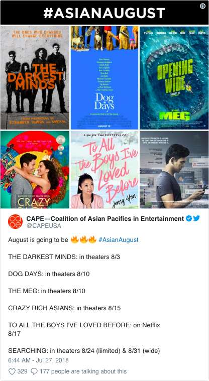 """好莱坞八月变""""亚裔八月"""":亚裔片接连爆红未来更多"""