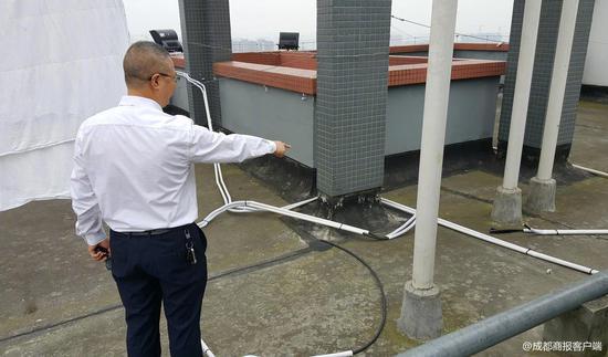 △7栋1单元30楼楼顶,信号放大设备的导线被人为破坏