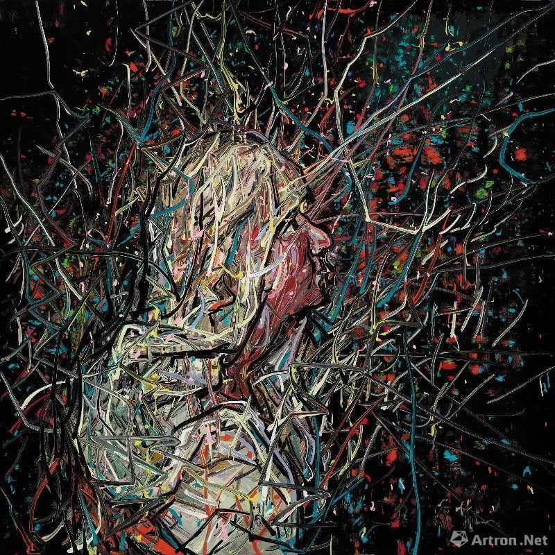 《无题》,油彩画布,100 x 100cm,2018 ©曾梵志,图片:艺术家、豪瑟沃斯