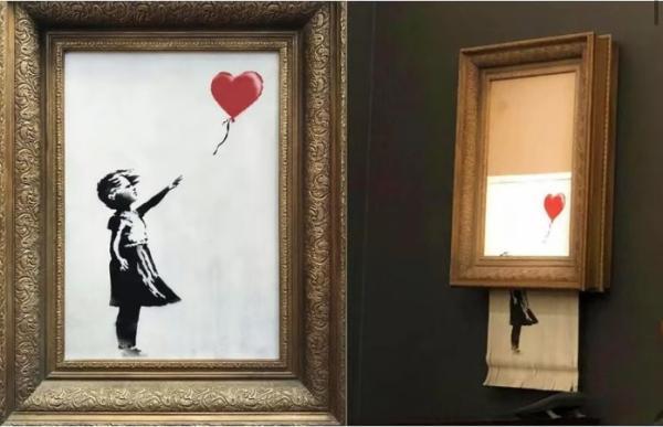 """班克斯""""自毁""""百万英镑画作:嘲弄资本与艺术市"""