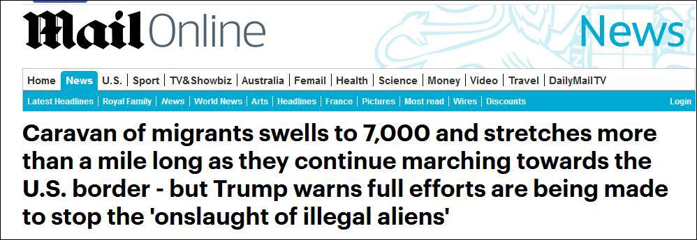 7000移民大军挺进美国边境 特朗普:动用一切力量阻止
