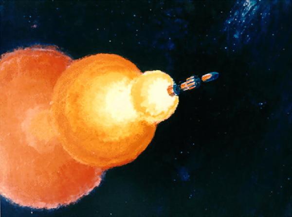 核火箭在外太空进取浅易暗示图。