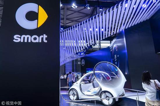 在2018 CES ASIA上展出的奔驰smart Vision EQ fortwo自动驾驶概念车
