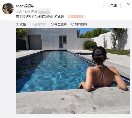 梧桐妹在美国豪宅别墅泳游池游水 大气晒泳装背影图片照