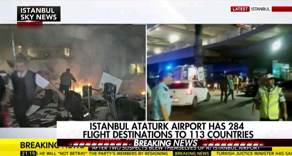 土耳其机场爆炸已致28人死 嫌犯安检前将自己引爆