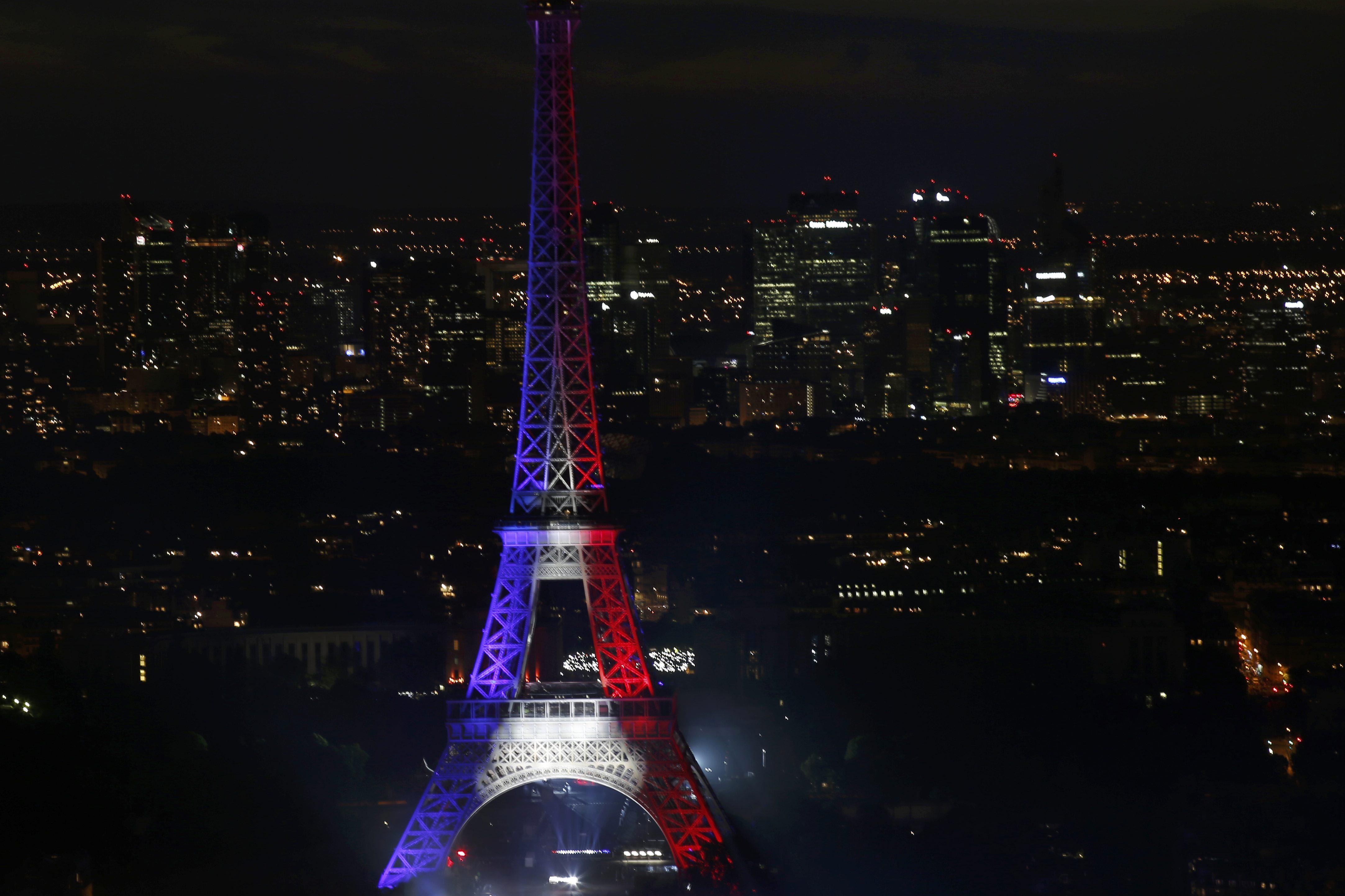 法国国庆日夜景(图片来源:路透社)图片