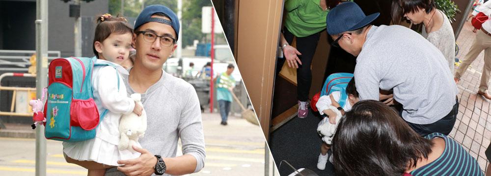 刘恺威抱娃上学又被拍 小糯米手拿玩偶乖巧可爱