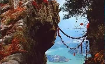 悬崖上的中国古村 靠一条铁链上下山