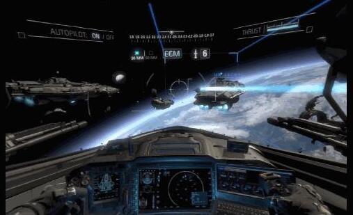 游戏提供的操作按键非常丰富,除了正常的上下左右之外,还提供了左右侧翻的控制键,玩家还能够做出各种翻滚动作,能在空间中自由来往,操作自由度非常大,提高了玩家驾驶战斗机的体验感。 由于《使命召唤:孤狼猛攻VR》的背景设定在宇宙空间中,宇宙中并没有严格意义上的上下左右,所以游戏的视角转换方式与普通的游戏相反。比如说你网左转动摇杆,游戏会向右转……所以在游玩的时候,会感觉到操作非常别扭,而且非常容易头晕。 总的来说,作为《使命召唤》系列的第一款VR作品,虽然游戏流程短了些,但是游戏画