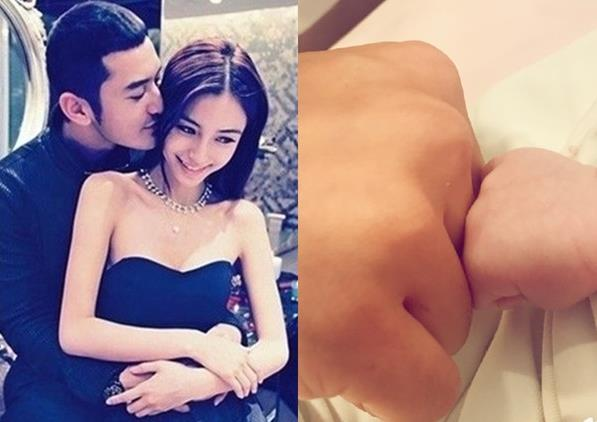 "angelababy 17日凌晨在香港生下儿子""小海绵"",夫妻俩的工作室发表"