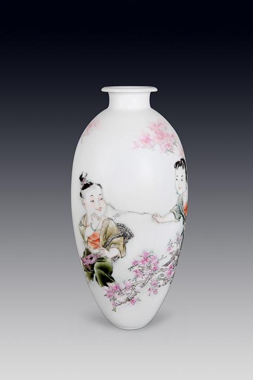 金绘福禄满堂双耳瓶 雕琢粉彩收藏瓷 钟福洪巨匠作品