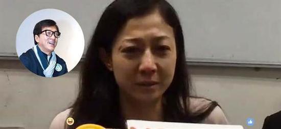 吴绮莉开记者会落泪控诉成龙:17年没为女儿付过半毛钱