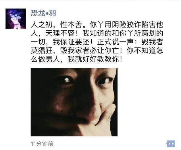 陈羽凡发文回应白百何事件:毁我家者必让你亡!