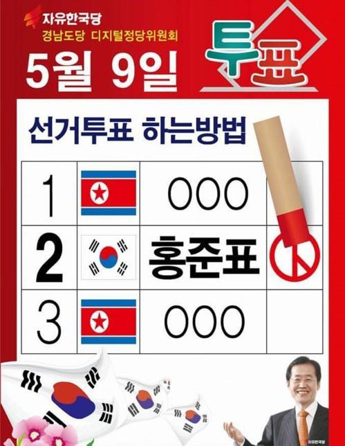 韩国总统大选海报被曝印朝鲜国旗图片