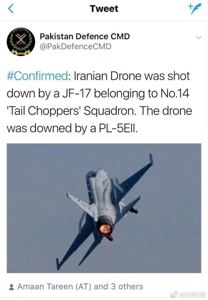 快讯!巴基斯坦枭龙战机击落一架伊朗无人机(图)