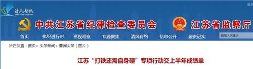 """江苏""""打铁还需自身硬""""行动半年 问责人数增62%"""