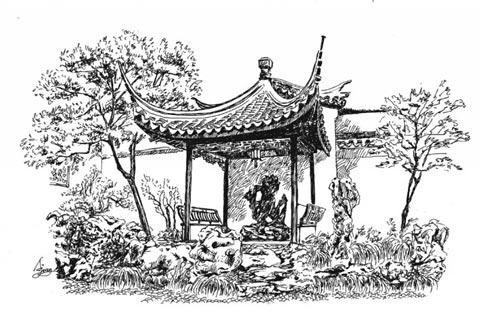 苏州园林围墙手绘