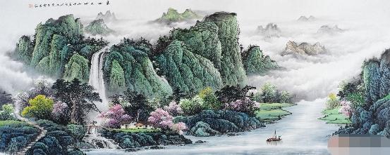 客厅山水画王宁最新力作山水画作品《春回大地》【作品来源:易从网】