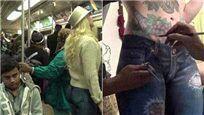 纽约街头竟有女人不穿裤子逛街挤地铁