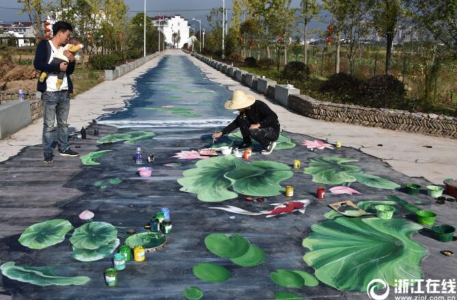 手绘3d景观装扮美丽乡村路