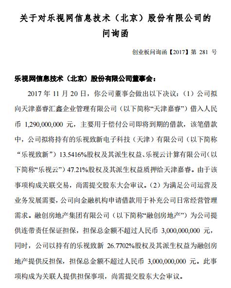 乐视收深交所问询函 要求说明将股权质押给融创合规性