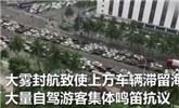 半个海口成停车场 自驾游客集体鸣笛抗议