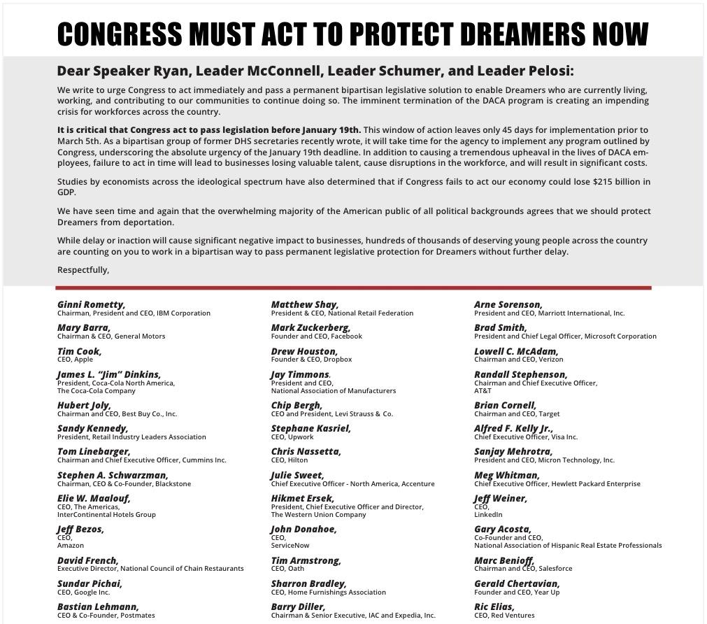 库克、扎克伯格等100多名CEO提交联名信呼吁保护追梦人