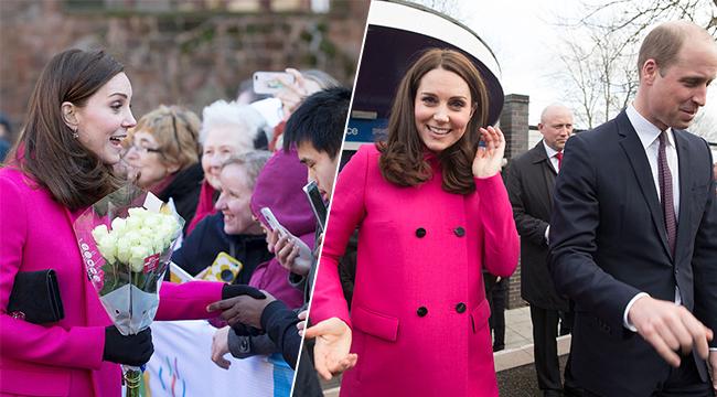 凯特王妃粉色大衣巧遮孕肚 和小朋友互动满眼都是爱