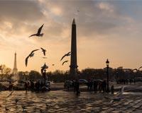 夕阳下的冬日巴黎风光