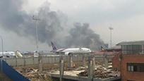 尼泊尔机场发生坠机事件 现场浓烟滚滚