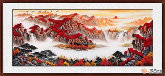 客厅风水画实力画家刘燕姣手绘作品《鸿运当头》来源:易从网