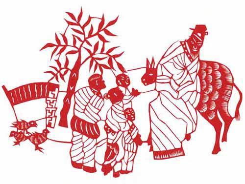 范祚信剪纸作品《回乡偶书》。广西科学技术出版社供图