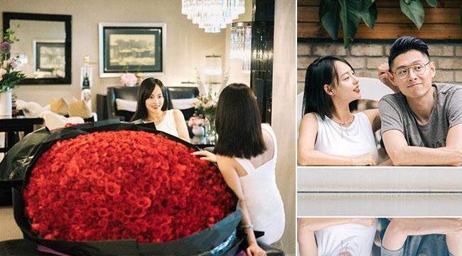 甜!张嘉倪庆生老公送巨型玫瑰 怀胎数月身形仍纤细