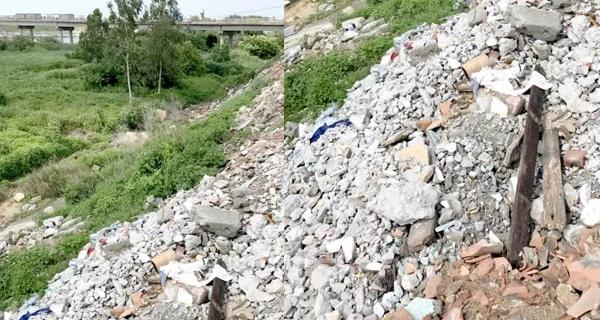 揭阳这个地方被曝建筑垃圾堆河堤