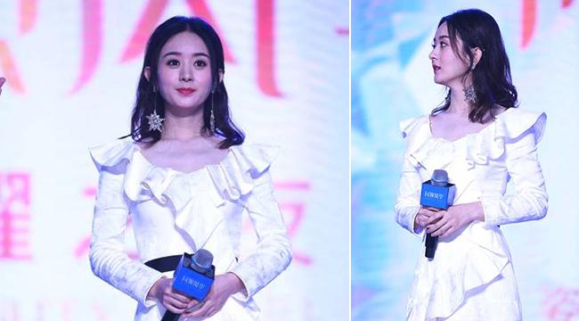 赵丽颖回应偶遇传闻后首亮相 一身白色仙裙秀骨感美