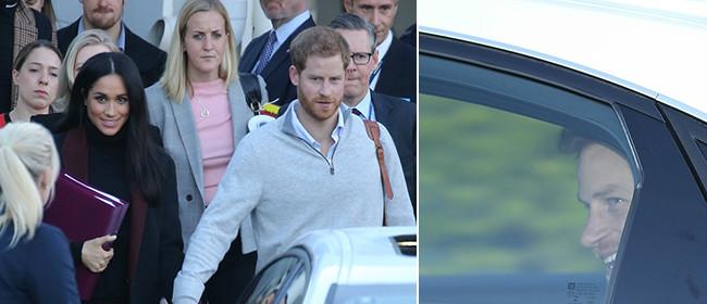哈里王子夫妇一起出行 两手交握感情甜蜜
