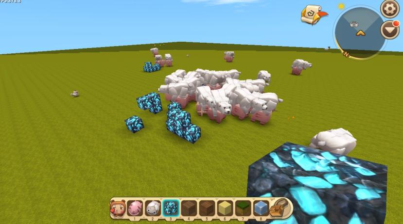并且这些巨型猪会驮着冰熊到处寻找蓝钻石块,我们从图中就能清晰的看出,当巨型猪遇到蓝钻石块后就会纷纷靠近,不愿意离开。相信很多玩家都想知道是怎么做出的这些生物,其实非常简单,大部分黑科技的地图都是依靠插件库来完成的!