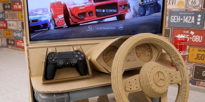 技术达人用纸板和PVC管打造赛车游戏方向盘
