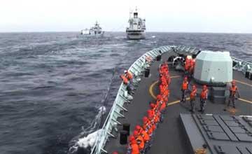 中国海军多艘现身南海 进行防空反潜演练