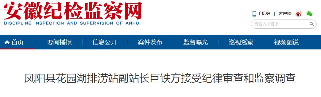 涉嫌严重违纪违法 安徽凤阳一排涝站副站长被查!