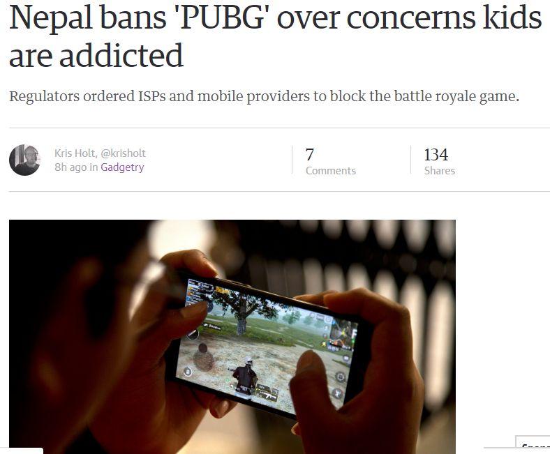 尼泊尔封杀PUBG手游 担心对儿童产生不良影响