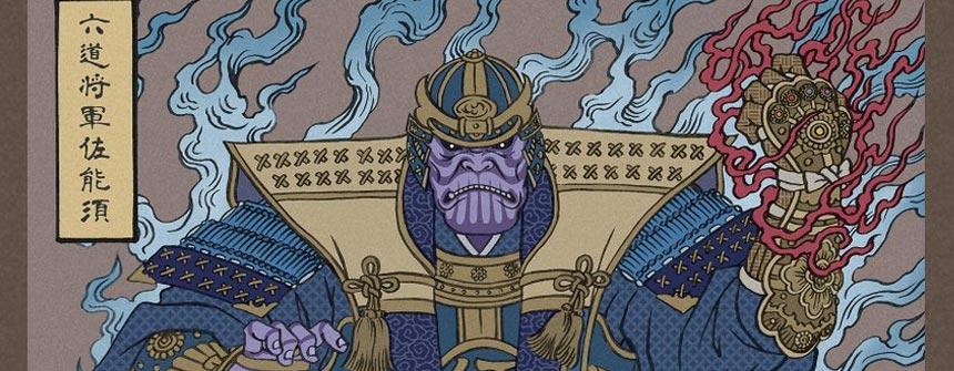 用浮世绘展现《复仇者联盟4 终局之战》角色