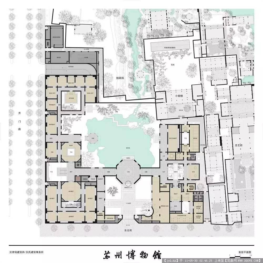 苏州博物馆新馆及周围建筑群的平面图.