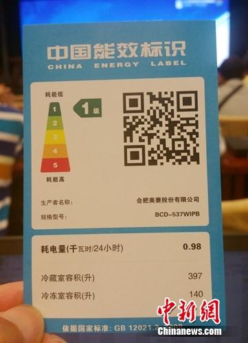 资料图:能效标识2.0版本示例。中新网记者李金磊摄