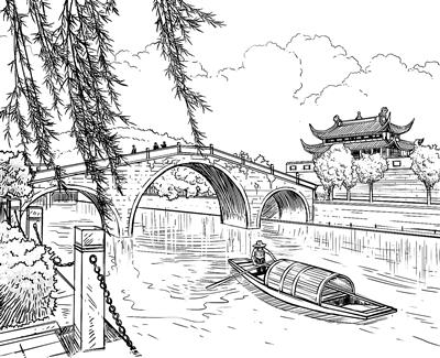 凤凰古城的手绘线稿图