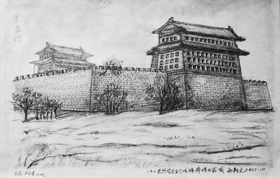 嘉峪关城门彩铅手绘