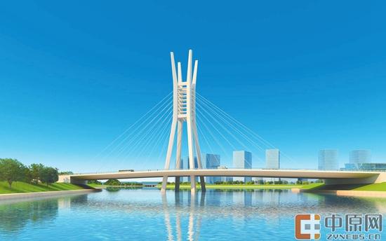 斜拉桥桥结构示意图